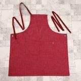 Grembiule pieno lavato rosso della busbana francese del Workwear delle signore di modo del grembiule del denim (RS-170301C)