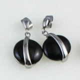 Jóias de moda Black Onyx Rose Quartz Teardrop Dangle Earrings