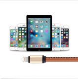 Foudre en cuir chargeant le câble de caractéristiques de chargeur d'USB pour l'iPhone
