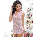 섹시한 Cheongsam 단추 레이스 여자 잠옷을%s 가진 분홍색 또는 검정