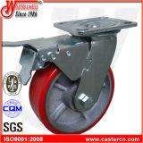 """6 Hochleistungseisen """" X2 """" rote PU-Schwenker-Fußrollen mit Bremse"""