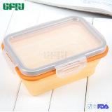 Kleiner Vierecks-Nahrungsmittelgrad-Silikon-Verschluss-faltbarer Behälter mit Kappe