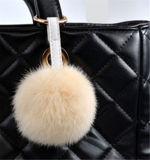 袋および車のための柔らかいウサギの毛皮の球のキーホルダー