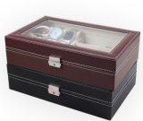 Ver Box Caja de vidrio Caja de cuero de joyero para el almacenamiento y visualización