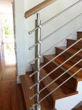Barandilla del acero inoxidable con la barra de Rod/el pasamano sólidos de la escalera del acero inoxidable