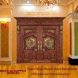 Puerta de talla de madera de lujo de la entrada doble (GSP1-007)