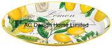 2개 크기 타원형 레몬은 서류상 전사술 금속 서빙 쟁반 W/Handle를 주문 설계한다