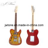 Guitarra Tele feita sob encomenda da qualidade do estouro da cereja da parte superior do bordo de Spalted