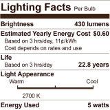 LEDエジソンの球根-縦のフィラメント- 5つのWatt400内腔- 40ワット等しい- 2700ケルビン-明確- 15、000の生命時間- 120V - Dimmable