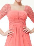Langer Abschlussball-Abend-Kleid-reizvoller Form-Spitze-Quadrat-Ausschnitt-heißer Verkauf