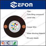 A resistência do fio de cobre Non-Amrored paralela de cabo de fibra óptica (GYXTY&cobre)