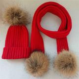Custom женщин зимний мех Red Hat Pompom трикотажные Beanie Red Hat
