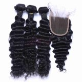 L'Eau Vierge malaisien d'onde couleur naturelle des cheveux humains Bundles