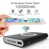 Más votados Más recientes de bajo costo de la calidad de alta capacidad portátil personalizado Qi Wireless móvil inalámbrico Cargador de carga inductiva Mat 10000 mAh Batería Bank