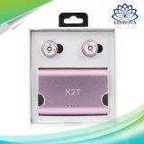 무선 Earbuds는 이동 전화를 위한 자석 충전기 상자 상자로 X2t Bluetooth CSR4.2 이어폰 입체 음향을 한쌍으로 한다