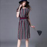 帯電防止反しわの通気性の服の女性のバット袖の方法円形の首の偶然の縞の服