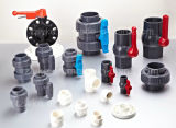 Válvula de bola verdadera del PVC de la unión del PVC para el producto químico con ISO9001 (JIS, CNS)