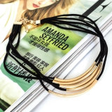 黒い革繊維の女性のための円形の管のチョークバルブのネックレス