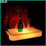 LED 플라스틱 충전기 격판덮개 포도주는 LED를 가진 과일 음료 쟁반을 상자에 넣는다