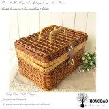 Hongdao personalizados artesanías de madera de regalo Alimentos de mimbre regalo cesta de picnic Venta al por mayor _E