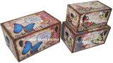 S/3 de Decoratieve Antieke Uitstekende Doos van de Boomstam van de Opslag van de Druk Pu Leather/MDF van het Ontwerp van de Fiets Rechthoekige Houten