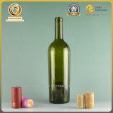 Пустая бутылка вина 750ml с верхней частью пробочки в античном зеленом цвете (561)