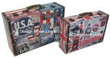 S/2装飾的で旧式な型のエッフェル塔デザイン印刷PU Leather/MDFの木の記憶のスーツケースボックス