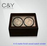 Classic 4 + 6 Batterie PU-Leder-automatische Uhrenbeweger