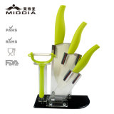 5PCS Kitchen Ceramic Knife Set com bloco e Peeler