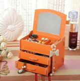 Nuevo estilo de madera bricolaje Cosmetic Caja de almacenamiento con espejo, caja de Joyería de pendientes, collar, el anillo
