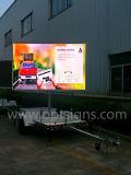 Visualización de LED portable de la publicidad al aire libre del acoplado de mensaje del color dinámico móvil de la tarjeta