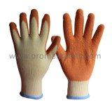 10 guantes hechos punto Tc amarillentos del calibrador con la palma anaranjada del látex de la arruga cubierta