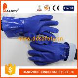 青いPVC手袋の化学抵抗力がある安全働く手袋Dpv116