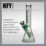 Hfyのガラスガラス煙る配水管は10インチ在庫の7mmのビーカーIlladelphに砂を吹き付けた