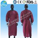 Robe non-tissée de patient de robe chirurgicale de robe d'isolement de robe de pp