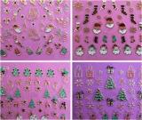 etiqueta do prego das etiquetas da arte do prego do ouro do metal de Santa do boneco de neve do Natal 3D