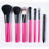 知恵7PCSのピンクの木のハンドルの化粧品の構成のブラシセット