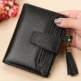 Bourse en cuir molle toute neuve de femmes d'embrayage de pochette de Deisgn avec la frange de gland en stock Emg5114