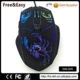 Подгонянная мышь PC кнопок логоса 6 связанная проволокой USB дышая освещенная контржурным светом