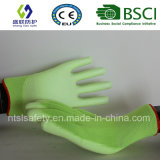 형광성 녹색 PU에 의하여 입히는 일 안전 장갑 (SL-PU201G)