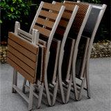 Jogo de dobramento de alumínio da tabela da cadeira do pátio da mobília ao ar livre durável do restaurante do metal do preto da boa qualidade