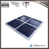 Etapa móvil de interior de la mini etapa de aluminio con la superficie de la alfombra