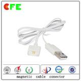 Cabo de carregador magnético Conector de cabo magnético USB branco de 2 pinos