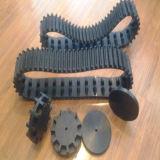 chenille en caoutchouc du robot large 118mm avec des roues (118*61*18)