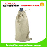 Craft Drawstring Wine Gift Bag avec PVC transparent Visible Window in Jute Fabric