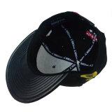 De forma personalizada 3D bordados PU Bill plana de couro Sport Man Hat Snapback Pac