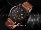 Guapo de cuarzo de moda para hombres reloj con correa de piel auténtica fs586