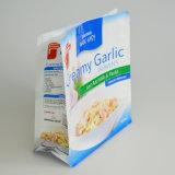 Nahrungsmittelgrad-Plastiktasche-Reißverschluss-Verschluss-Beutel-flache Unterseiten-Fastfood- Beutel mit seitlichem Stützblech