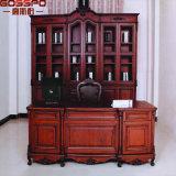 Biblioteca de madeira sólida Estante de livros com mesa de estudo (GSP18-032)