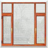 Le tissu pour rideaux en verre incassable de vue d'alliage d'aluminium balancent à l'extérieur le guichet avec des abat-jour d'obturateur à l'intérieur